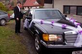 Dekorace na auto fialová s peříčky,