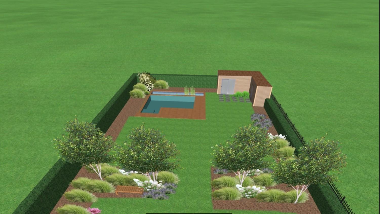 Zahrada na klíč - Pozemek bude rozdělen na dvě rovné části, které bude oddělovat mírný svah (svah pozemku 0,5 m), který budou zdobit okrasné záhony a stromy. Zároveň je zahrada rozdělena na odpočinkovou a aktivní část.