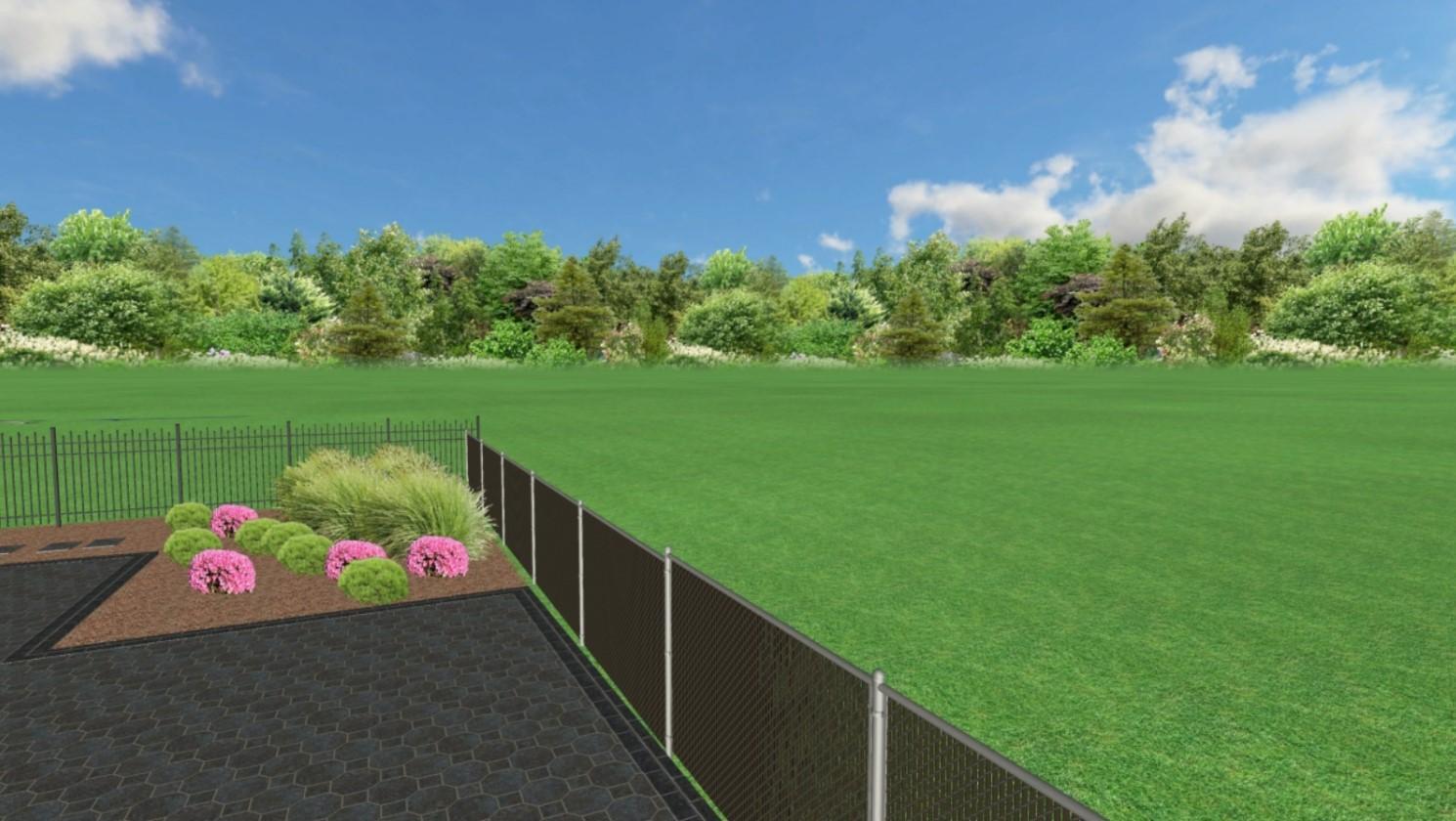 Zahrada na klíč - Pohled zepředu domu, kde nebude vyseta tráva, pouze okrasné záhony.