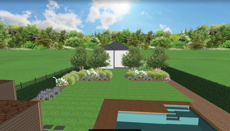 Zahrada na klíč - Pohled z konce zahrady by měl být následovný. V programu není možné vytvořit mírný svah. Ten však bude uprostřed pozemku, aby zahrada neměla svah po celé délce.