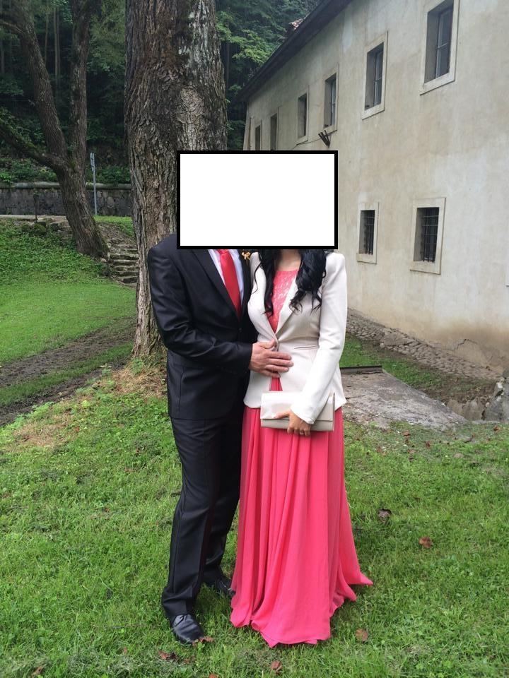 lososové šaty s bohatou sukňou - Obrázok č. 1