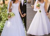 Snehobiele svadobné šaty veľ. 36, 36