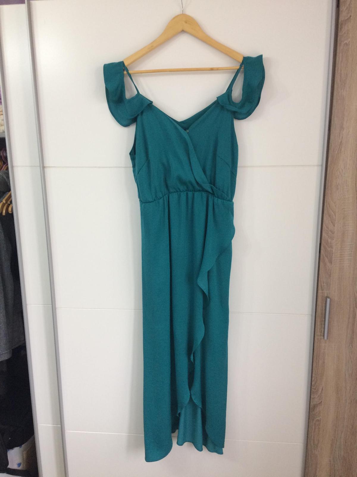 Saténové šaty, tyrkys - Obrázok č. 1