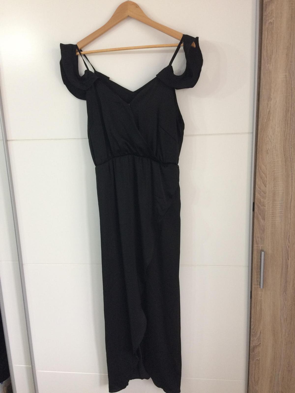 Saténové šaty, čierna - Obrázok č. 1