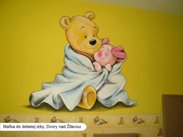 a maľujeme Barborkinu izbu - podľa tohoto obrázku neter práve maľuje Barborke Macka Pooh:-)