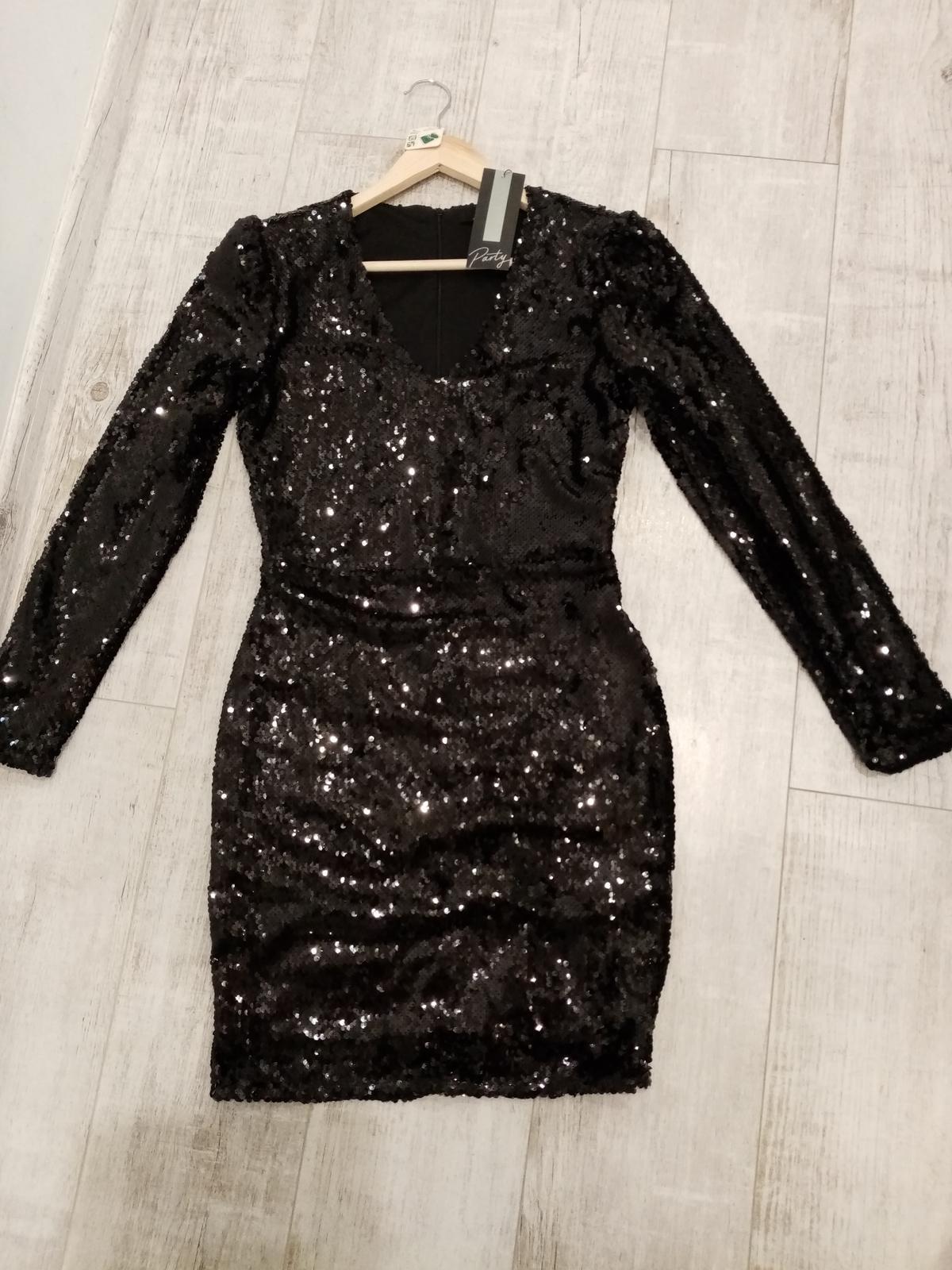 Čierne flitrované šaty_veľkosť 40 - Obrázok č. 1