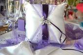 Svatební polštářek pod prstýnky Motýlek Luxus,