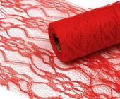 Krajková stuha - červená 15 cm,