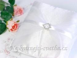 Svatební polštářek Bílá spona - půjčovna - Obrázek č. 1