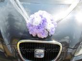Svatební dekrace na auto rondo lila - půjčovna,