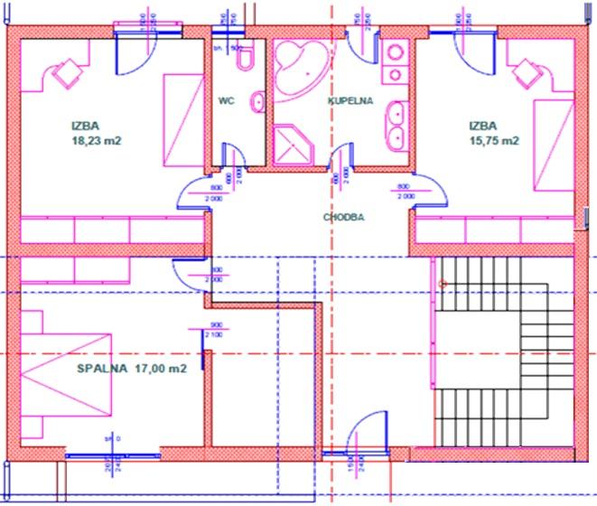 Prestavba RD - Dispozicia poschodia
