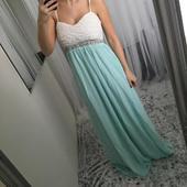 Mentolové (i pudrové) dlouhé šaty pro družičky, 38