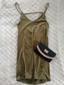 Khaki olivové šaty na ramínka - 38, 38