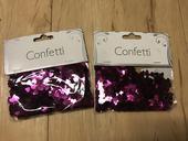 2 balíčky fuchsiových konfet - srdíčka,
