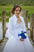 korzetové svadobné šaty s tylovou suknou, 34