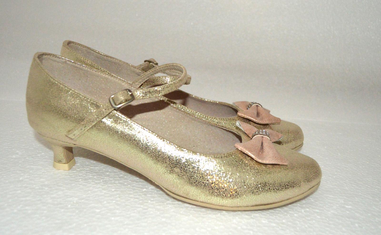 Výpredaj - Svadobné lodičky zlaté na nízkom 4 cm opatku vo veľ 38,5