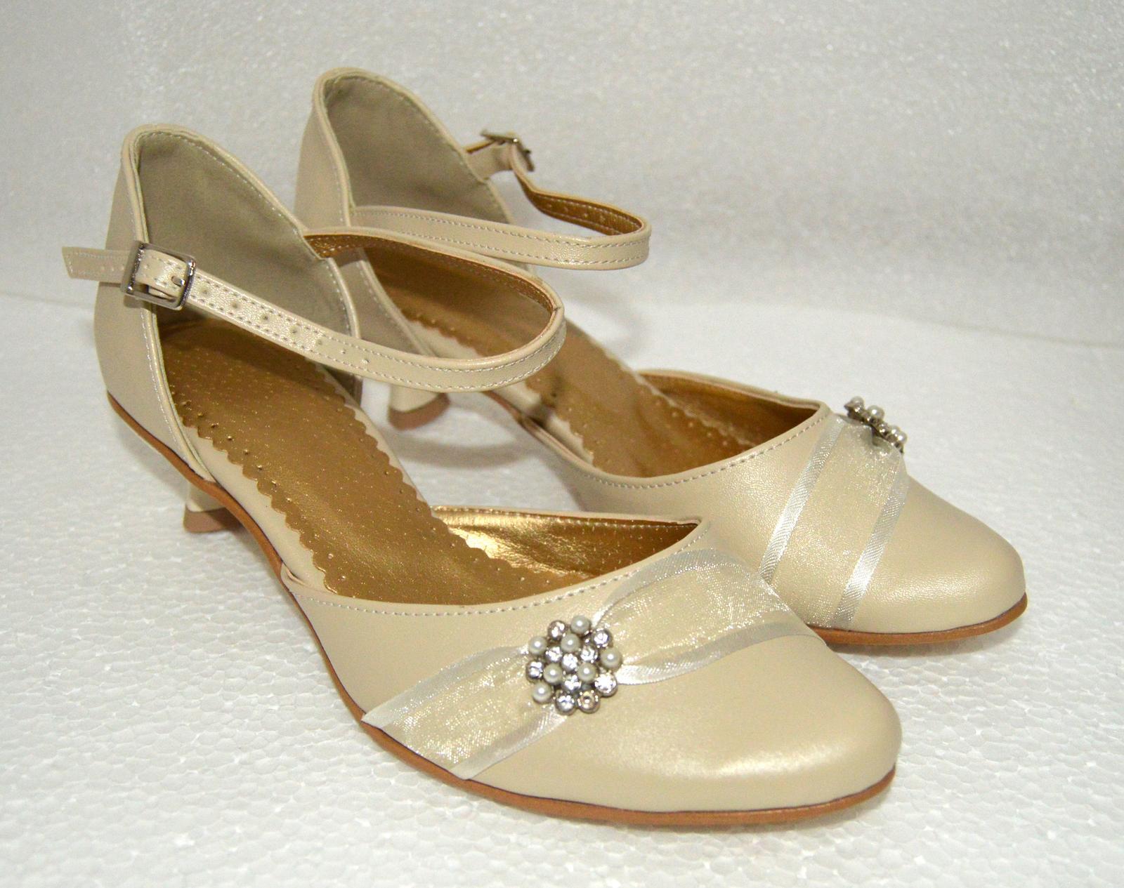 Svadobné topánky, inšpirácie z Vašich návrhov, farby biela, ivory, šampaň. - Svadobné topánky krémová eko koža opatok 3 cm, úpravy podľa želania klientky