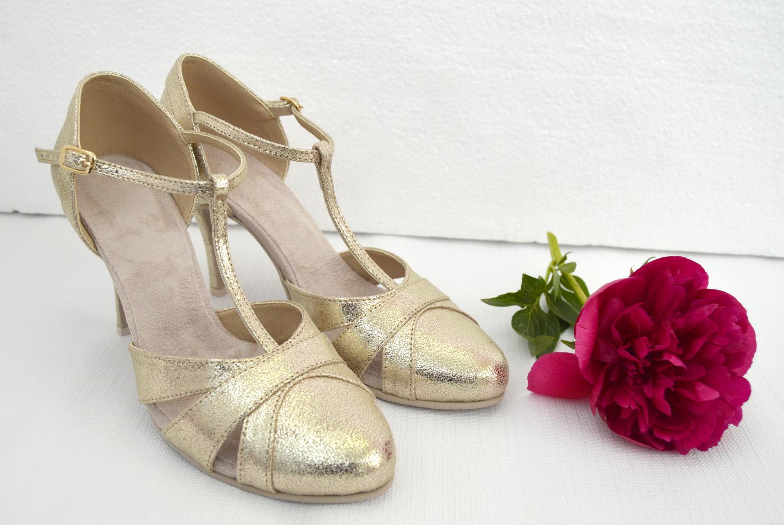Svadobné topánky navrhni a uprav si ich podľa seba - inšpirácie zlatá - Zlaté svadobné topánky - model Marissa v tanečnom štýle, exkluzívna zlatá, úpravy podľa želania klientky