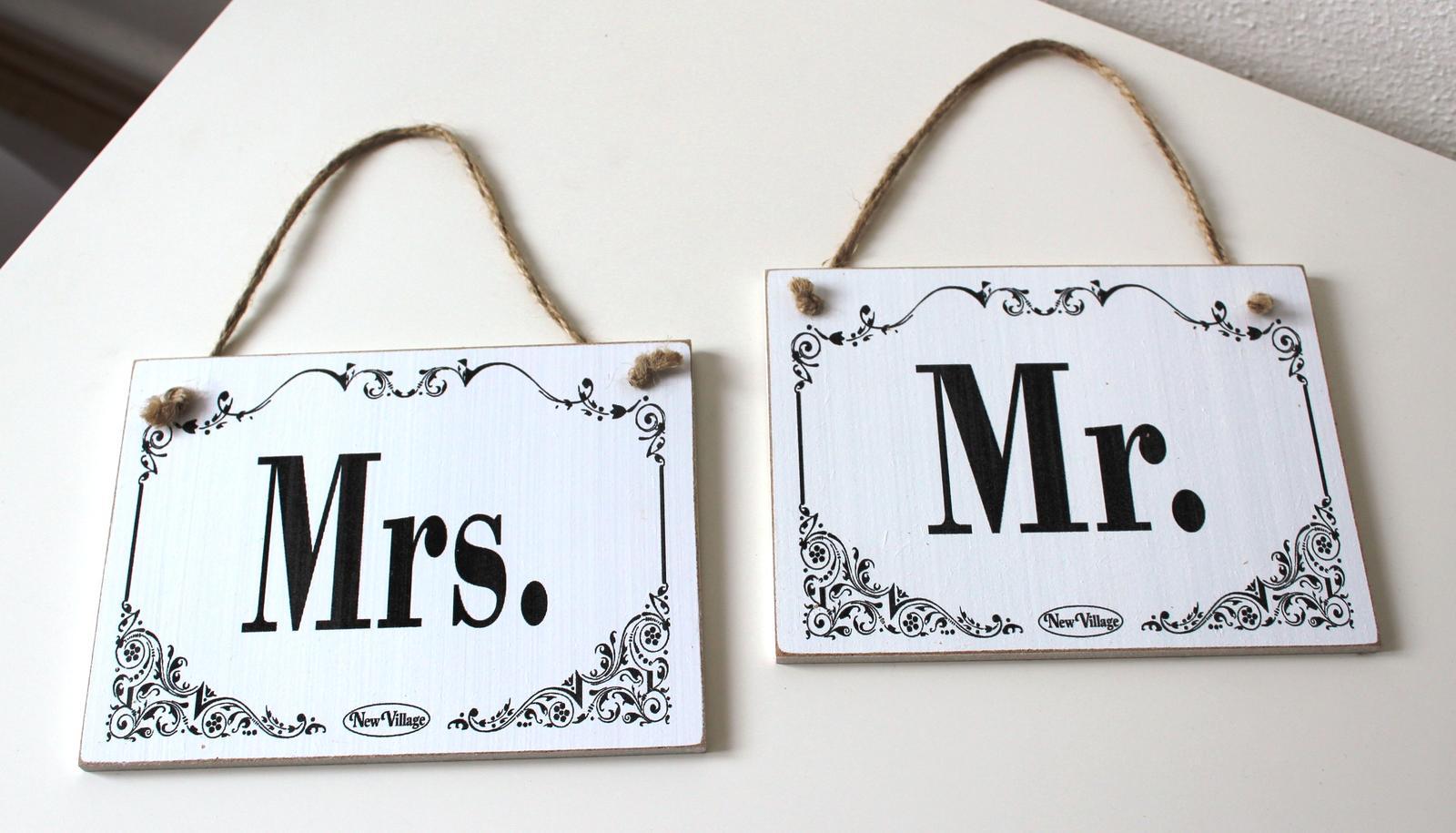 Tabuľka Mr a Mrs - prenájom - Obrázok č. 1