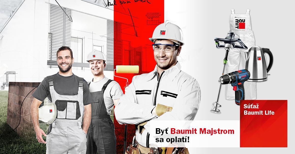 Propaguj svoje fasády a vyhraj! - Byť Baumit Majstrom sa oplatí. Máme pre teba až 1000 odmien a hlavnú cenu Volkswagen Caddy.
