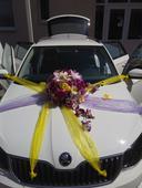 Fialovo-žltá dekorácia auta,