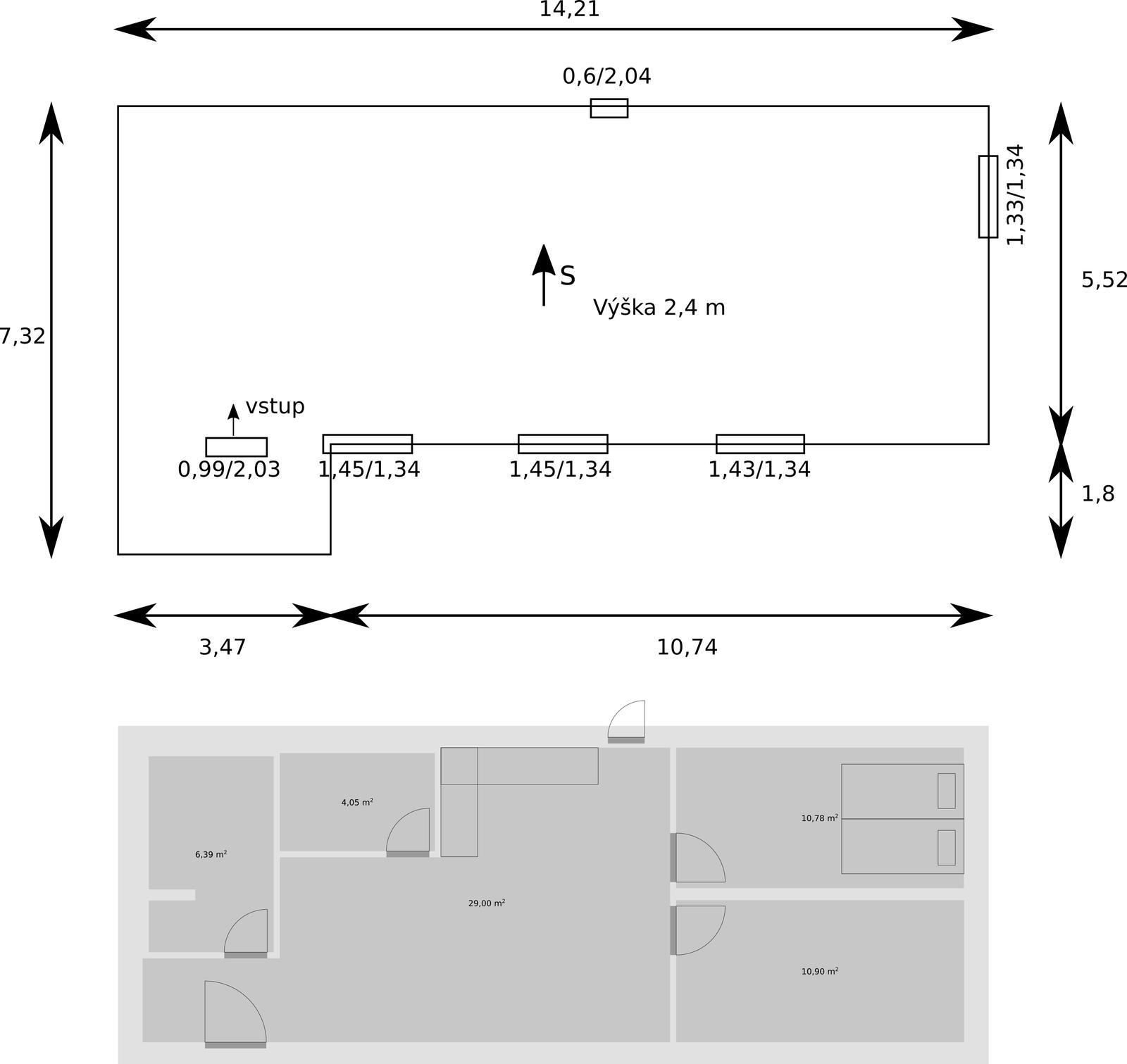 Kontajnerový dom po stieťkovaní - Nákres podla reálneho merania