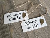 Cedulky příprava nevěsty a ženicha,