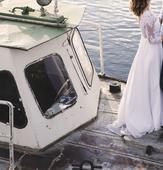 Boho krajkové svatební šaty s odkrytými zády, 38