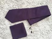 Fialový kompet kravata, kapesníček, knoflíčky,