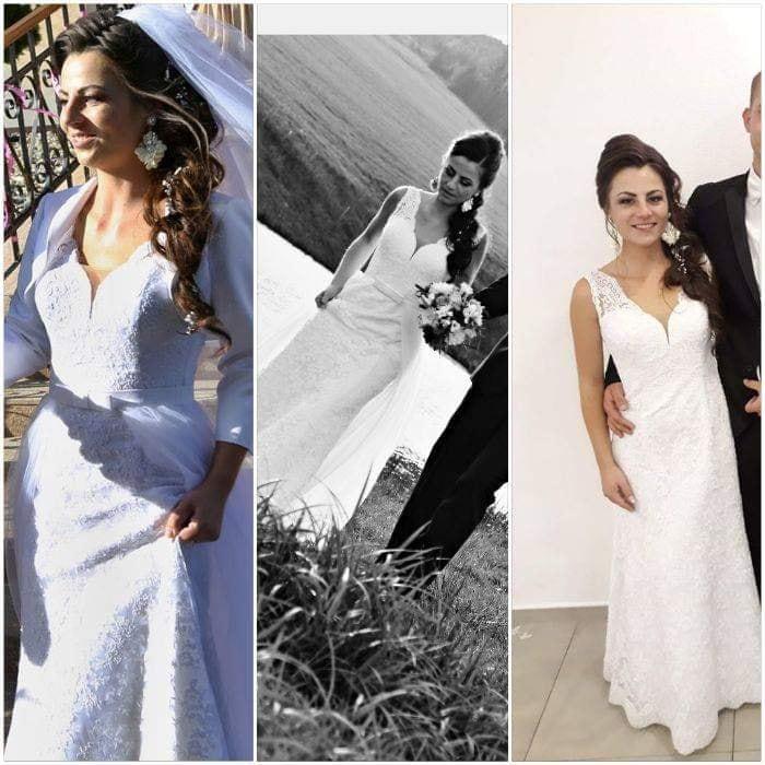 Celokrajkové svadobné šaty s odnímateľnou vlečkou  - Obrázok č. 1