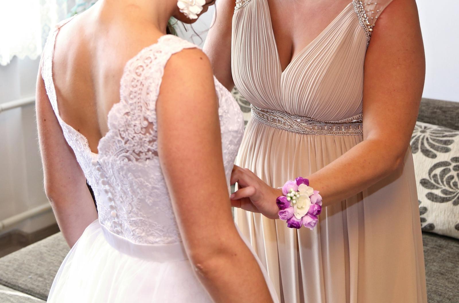 Celokrajkové svadobné šaty s odnímateľnou vlečkou  - Obrázok č. 2