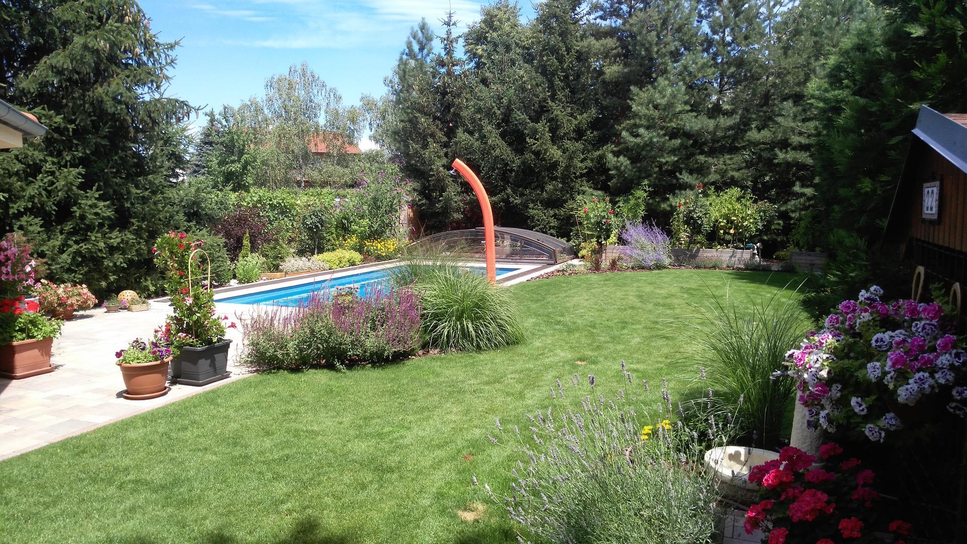 Záhrada s bazénom, Pezinok - rok po realizácii