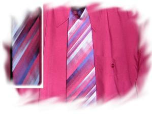 Ženichova košile a měňavá kravata. Bohužel špatně vyfocené, má to být tmavě vínová barva.