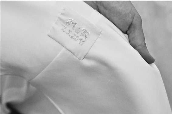 M{{_AND_}}R - monogram&date sewn into my lovely wedding dress...