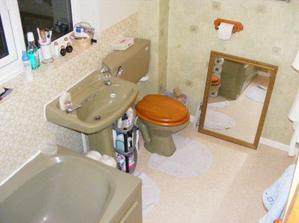 Kúpeľna v zelenom... čo dodať... Angličania... v minulom dome sme mali ružovú...