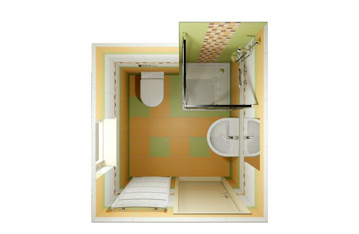 Návrhy koupelen - Spodní koupelna, sprchový kout jen 80x80, větší bohužel nevlezl