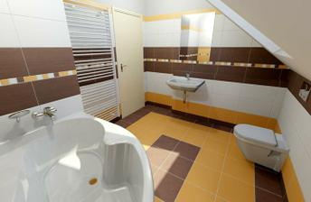 Horní koupelna, Obklady Via veneto arancio, bruno a bianco
