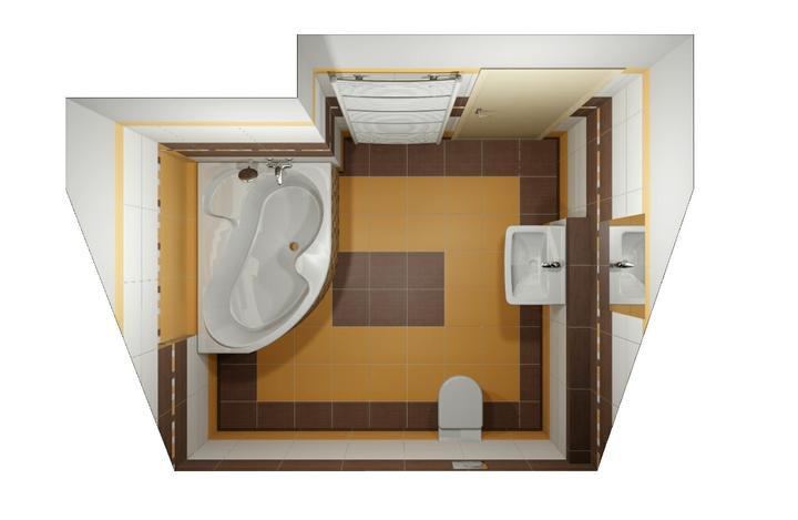 Návrhy koupelen - Horní koupelna - půdorys