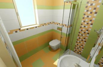 Spodní koupelna. Kompromis na malém prostoru.