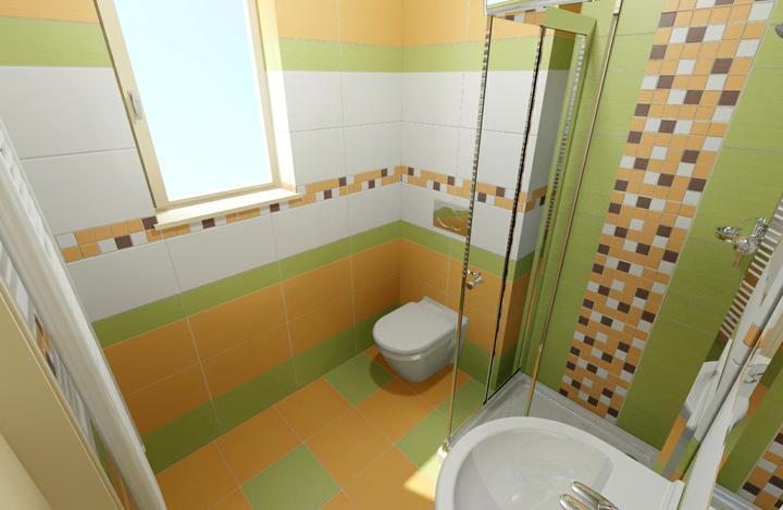 Návrhy koupelen - Spodní koupelna. Kompromis na malém prostoru.