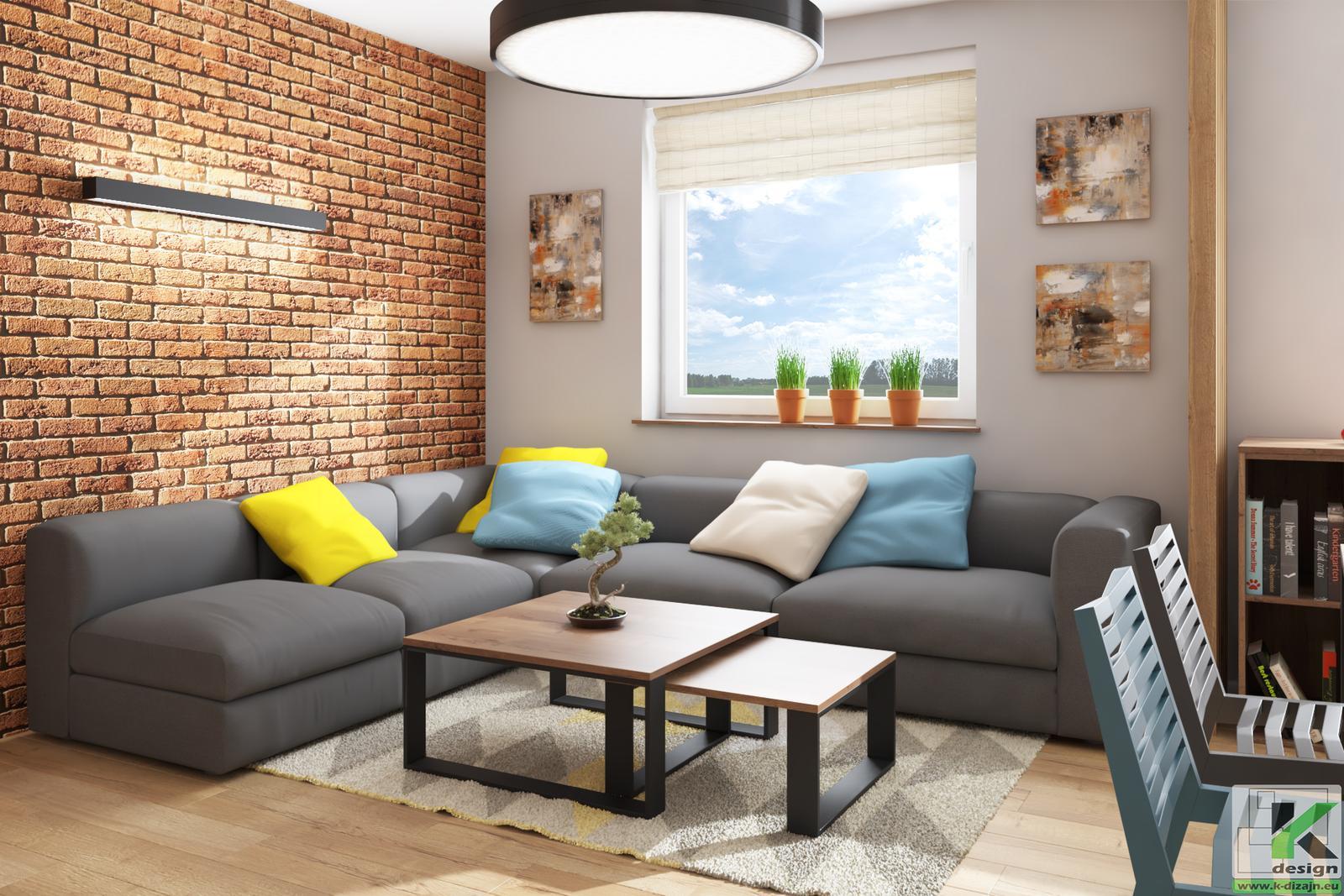 Vizualizácia - malá kuchyňa s obývačkou... - Obrázok č. 3