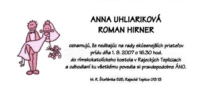 Anna Uhliariková{{_AND_}}Roman Hirner - Naše svadobné oznámenie