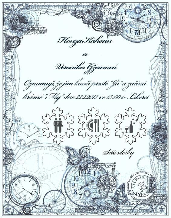 Svatební oznámení - Vločky budou jako stírací losy:-) Jsem na to zvědava.Docela jsem hrdá na své dílo.