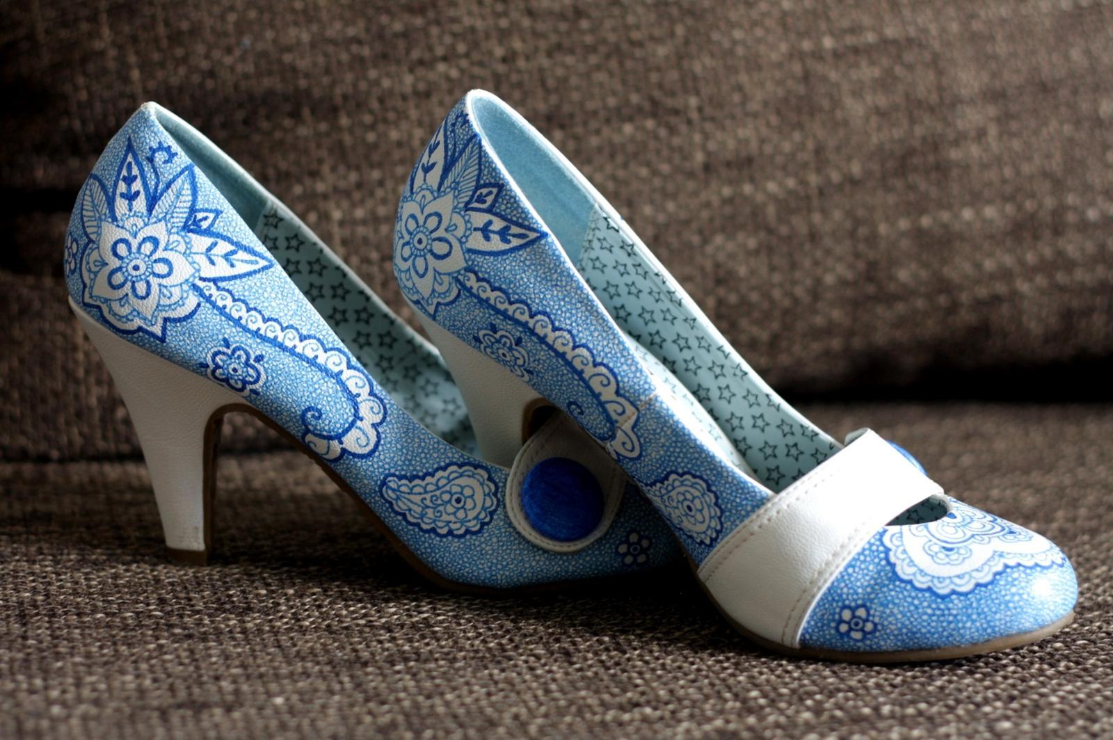Svadobné a iné ručne maľované topánky - Obrázok č. 5