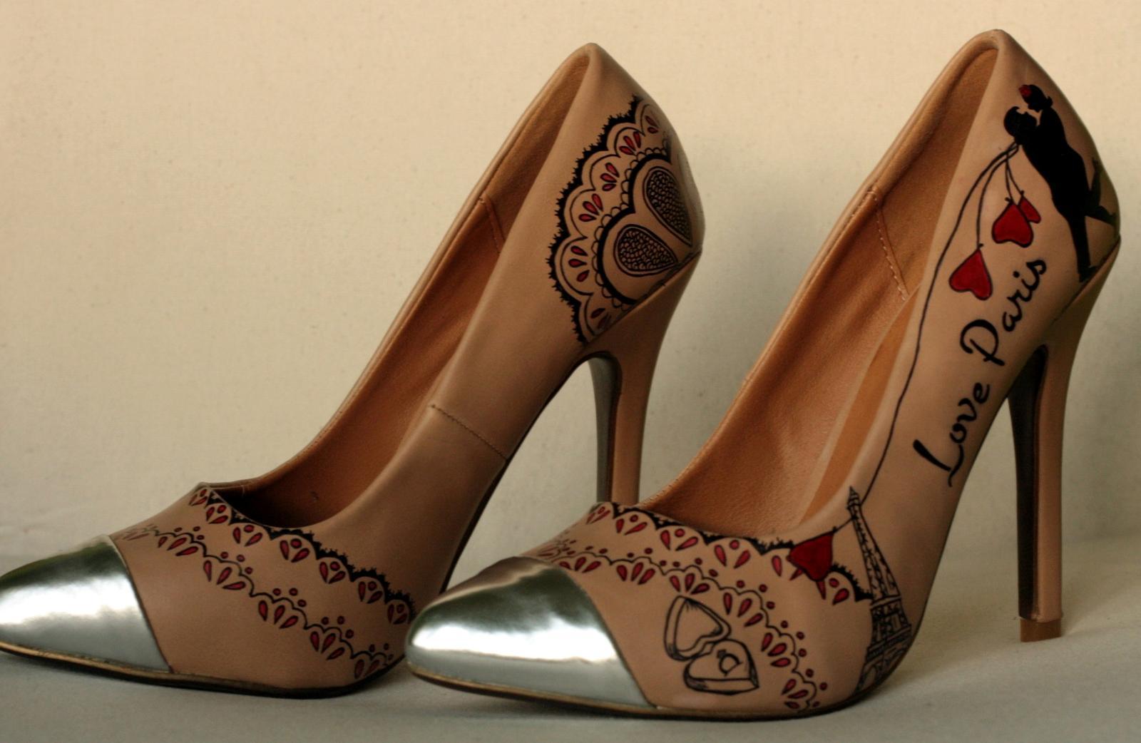 Svadobné a iné ručne maľované topánky - Love Paris