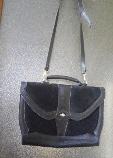Černá kožená pevná retro kabelka - Obrázek č. 1