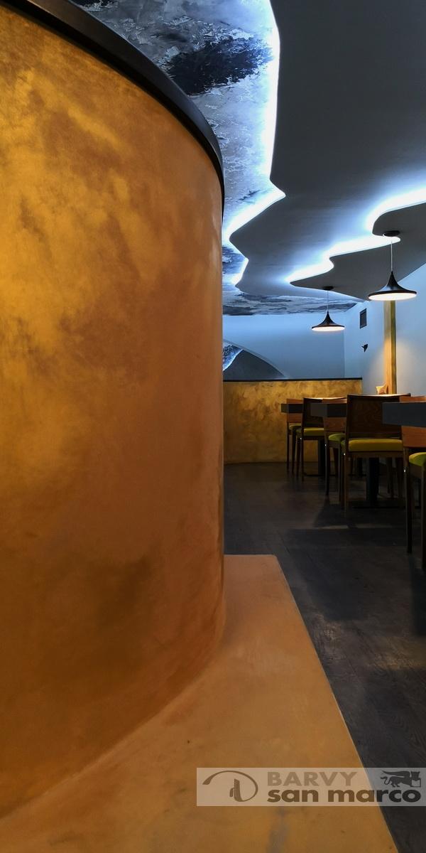 Restaurace Mazaný Anděl v Brně - Dekorační stěrka od Barvy San Marco