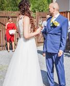 Krajkové svatební šaty s tylovou sukní vel.38-40, 40