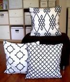 3x bíločerný povlak s geometrickými vzory,