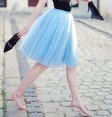 Tylová tutu sukně světle modrá, M